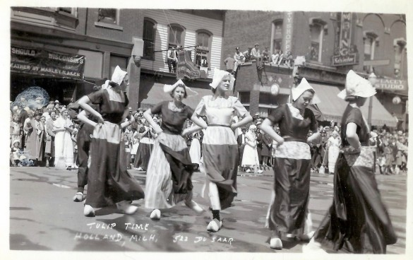 tulip time dutch dancers, holland, michigan photo postcard c. 1935